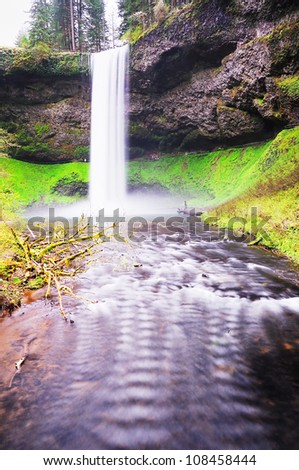 The Beautiful View Of  south Silver Falls - stock photo