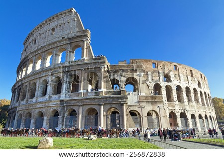 The beautiful view of the Great Colosseum, Rome, Italy