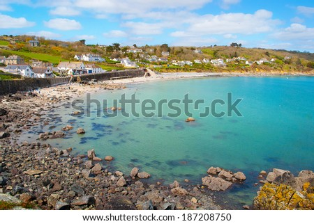 The beautiful village of Coverack in Cornwall, UK.  - stock photo