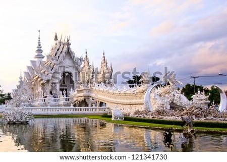 The beautiful Wat Rong Khun. Chiang Rai, Thailand - stock photo