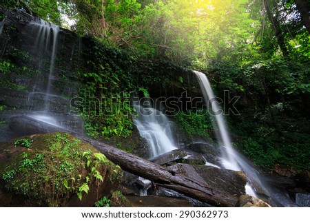 The beautiful waterfall in deep forest at Phu Hin Rong Kla National Park, Thailand