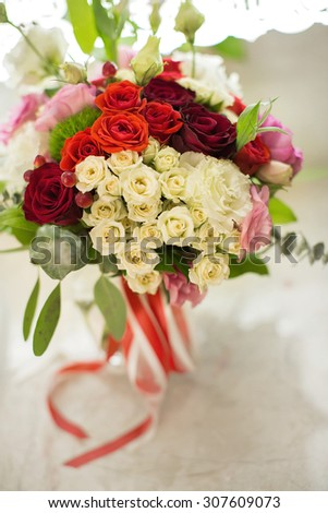 the beautiful wedding bouquet for the bride