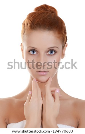 The beautiful woman. A photo of the beautiful woman with a natural make-up. Care of a skin. Spa - stock photo