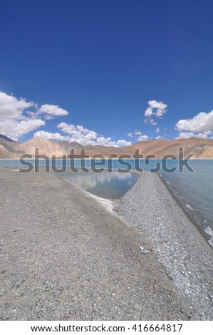 The beauty and majesty of Pangong Tso, a high altitude lake in Ladakh, India.
