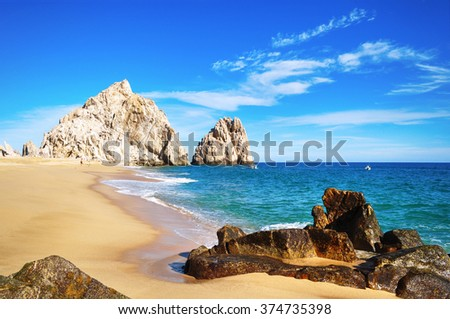 The beauty of Baja California Sur, Mexico | Cabo San Lucas: Lovers Beach. Cabo San Lucas, Baja California, Mexico. - stock photo