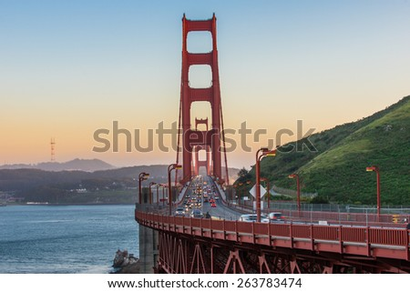 The Beauty of Golden Gate Bridge during sunset - stock photo