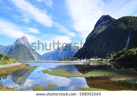 the beauty of Milford sound - stock photo