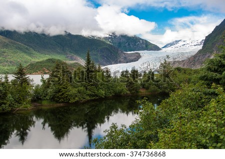 The Beauty of North America | Alaska: Breathtaking view of Mendenhall Glacier. Glacier located  about 12 miles from  Juneau in the southeast area of the U.S. state of Alaska.