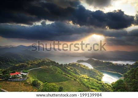 The beauty of reservoirs in Taiwan  - stock photo