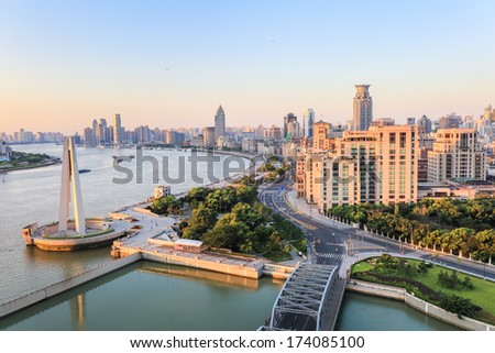 the beauty of the bund, shanghai in the morning,China - stock photo