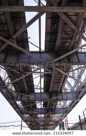The beauty of the industrialization technology of the steel bridge structure in the blue clear sky day landscape.
