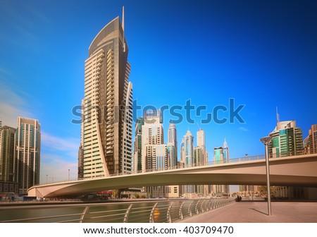 The beauty panorama of Dubai marina. UAE - stock photo