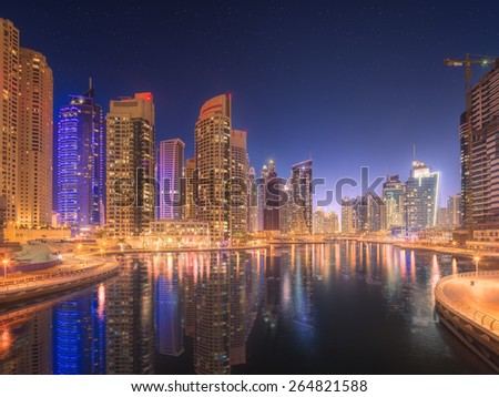 The beauty panorama of skyscrapers in Dubai Marina. UAE