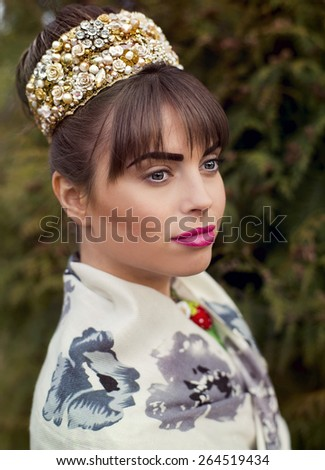 The beauty queen in a diadem - stock photo
