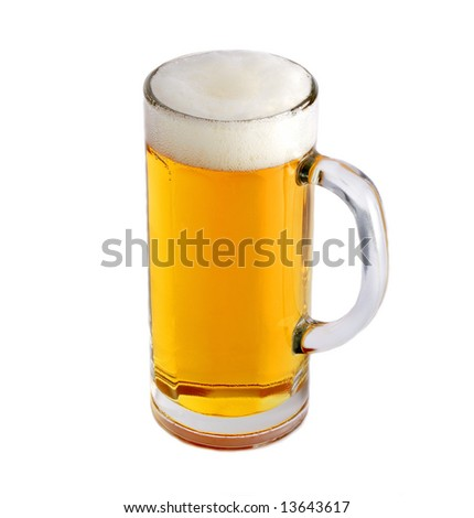 The beer in the mug on the white background