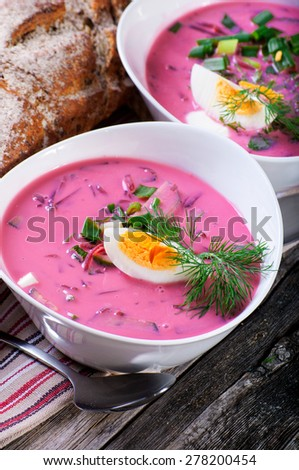 The beetroot soup with egg  - stock photo