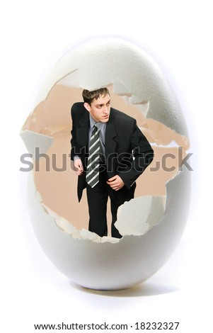 The beginning businessman looks out from big eggs. A part 4.