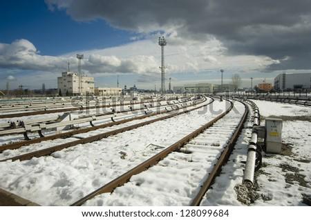 The beginning of railway tracks in Sofia, Bulgaria - Metro - stock photo