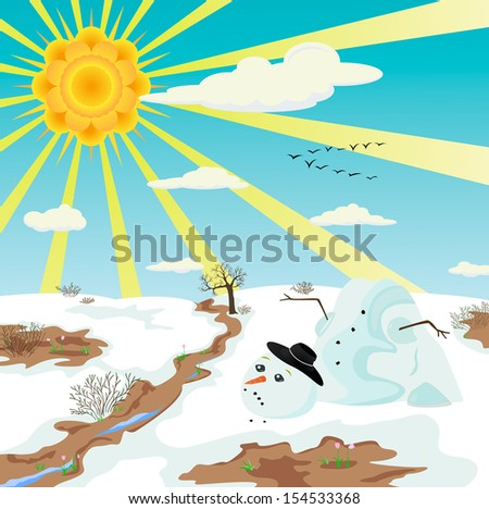 The beginning of spring. Snowman melts and sad. can be applied as a child's picture book cover. illustration - stock photo