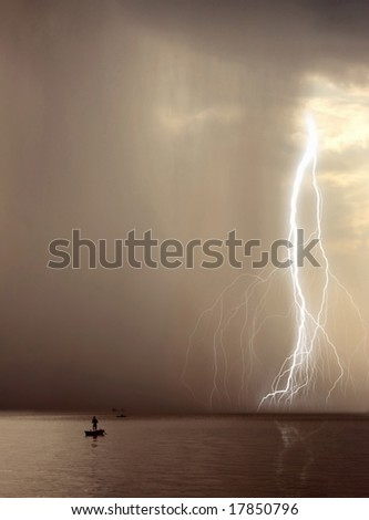 the beginning of the storm over the lake - stock photo