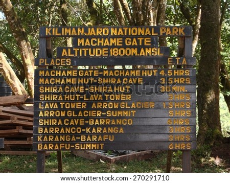 The beginning of track to Kilimanjaro summit. The schedule of Machame route on a wooden stand near Machame Gate. 1800 meters above dea level. - stock photo