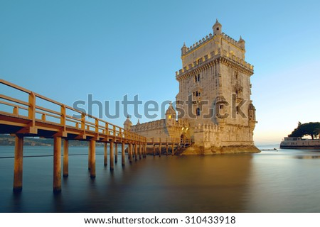 The Belem Tower on the Tagus River. Lisbon, Portugal. - stock photo