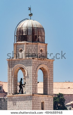 The bell tower in the Old town of Dubrovnik