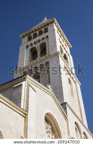 The bell tower of Holly Church, Jerusalem, Israel - stock photo