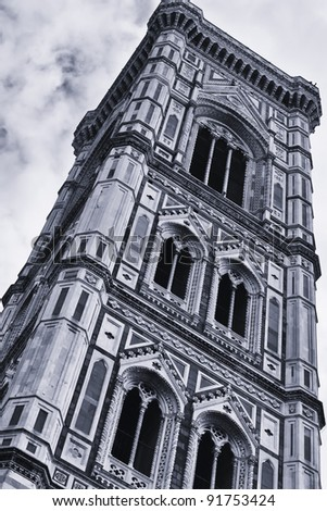 The bell tower of Santa Maria Dome was begun by Giotto in 1334 and it's a part of the beautiful dome of Florence
