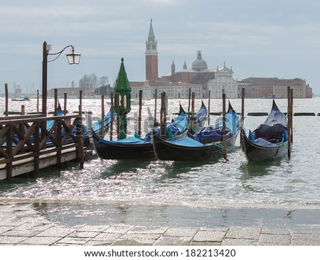 The bell tower of the Saint Giorgio Maggiore Church (view from San Marco embankment) - Venice, Italy - stock photo