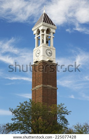 The Bell Tower on the campus of Purdue University in West Lafayette Indiana a gift from the class of 1948 - stock photo