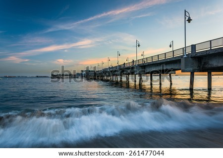 The Belmont Pier at sunset, in Long Beach, California. - stock photo