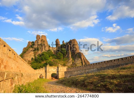 The Belogradchik Fortress; also known as Kaleto; is an ancient fortress close to the northwestern Bulgarian town of Belogradchik and the town's primary cultural and historical tourist attraction. - stock photo