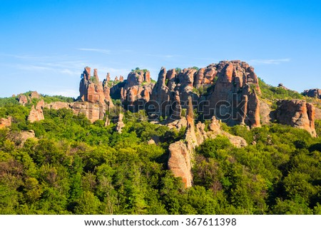 The Belogradchik Rocks are a group of strange shaped sandstone conglomerate rock formations located on the western slopes of the Balkan Mountains near the town of Belogradchik in northwest Bulgaria.