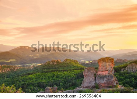 The Belogradchik Rocks at sunset, Bulgaria. The Belogradchik Rocks are a group of strange shaped sandstone conglomerate rock formations located on the western slopes of the Balkan Mountains.