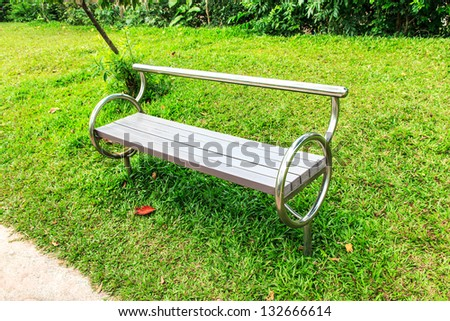 The bench stainless in garden it build modern and creative