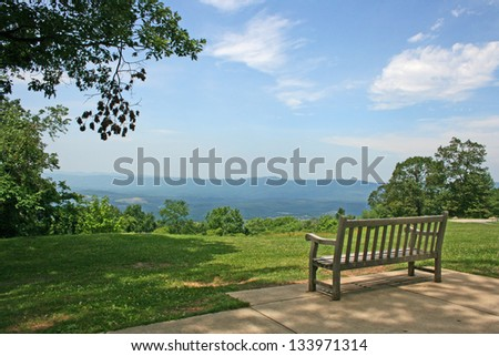 The Bench with the view at Shenandoah Valley, Virginia (made from Shenandoah National Park) - stock photo