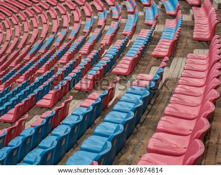 The benches in the football stadium