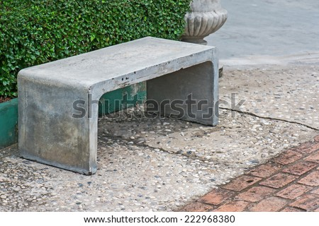 The benches is made by cement - stock photo