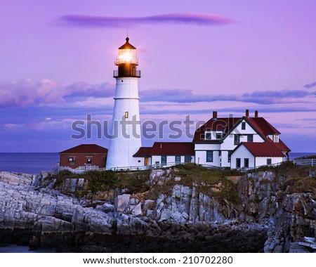 The Benevolent Sentinel, The Portland Head Light After Sunset, Portland Maine, USA - stock photo