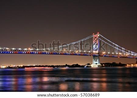 The Benjamin Franklin Bridge in Philadelphia, Pennsylvania on the Fourth of July - stock photo