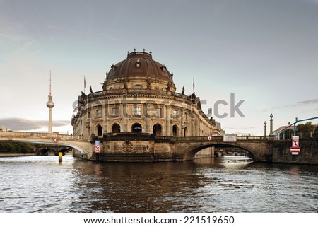 The Berlin museum island with bode museum and the TV tower in the background. - stock photo