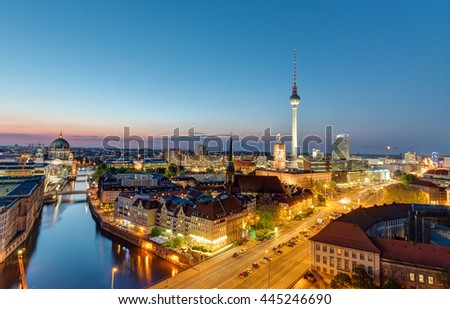 The Berlin skyline with the famous Television Tower at night