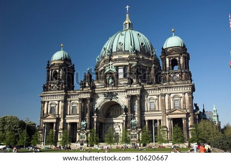 The Berliner Dom is a popular tourist destination in the heart of booming Berlin. - stock photo