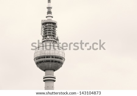 The Berliner Fernsehturm Television Tower - A landmark from the GDR past- the Berliner Fersehturm television tower, Berlin, Germany.