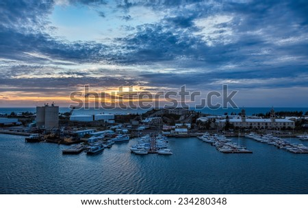 The Bermuda Royal Naval Dockyard at Kings Wharf on Ireland Island. This is located in Sandy's Parish, Bermuda. The clocktower mall and National Museum of Bermuda are prominent in the photo.  - stock photo