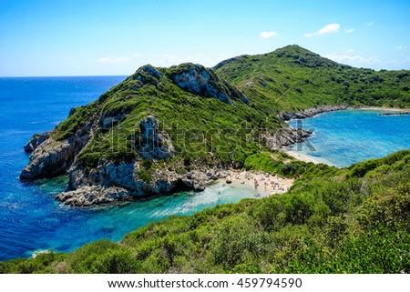 The best beach in Corfu island, Porto Timoni. Important tourist attraction. - stock photo