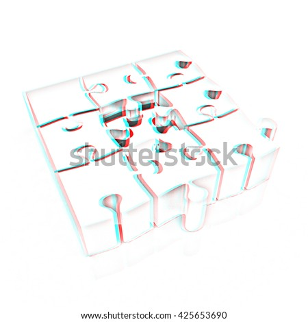 The best choice of puzzles on a white background. Pencil drawing. 3D illustration. Anaglyph. View with red/cyan glasses to see in 3D. - stock photo