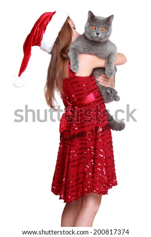 The best christmas present ever - happy little girl with her new cat isolated on Holiday theme/Lovely girl wearing red dress and holding British cat on Christmas - stock photo