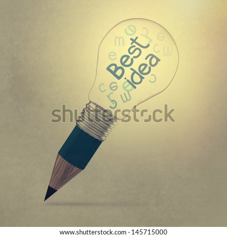 the best idea creative as pencil lightbulb creative concept - stock photo